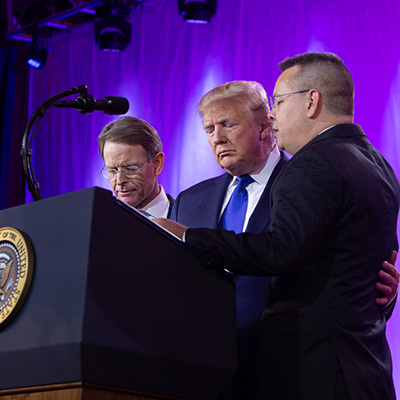 President Trump and Andrew Brunson with Tony Perkins at Value Voters Summit